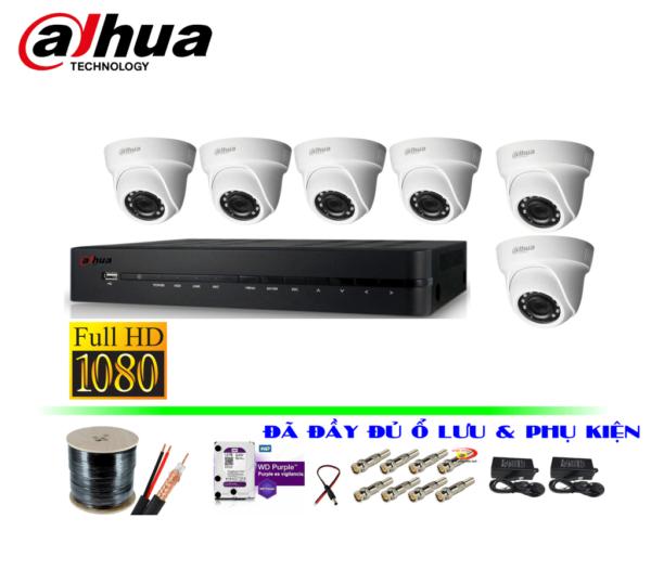 Trọn bộ camera hikvision 6 mắt full hd 2.0m