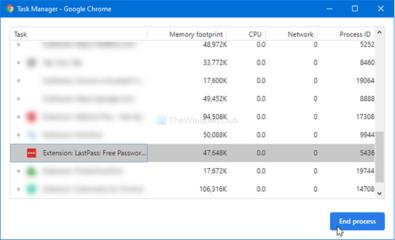 Tắt tiến trình bằng chrome task manager